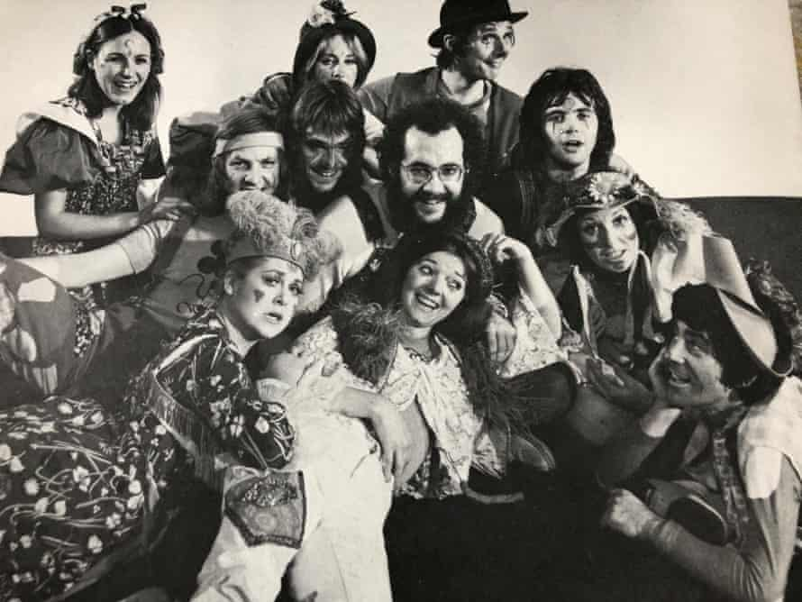 John-Michael Tebelak (bearded, centre), with Jeremy Irons to the left, David Essex right, and the 1971 London cast.