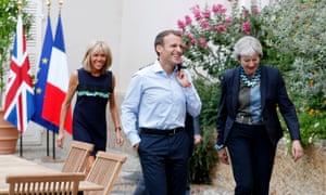 Theresa May and Emmanuel Macron at Fort de Bregancon, with Brigitte Macron.
