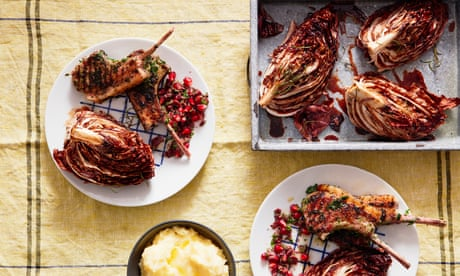 Thomasina Miers' recipe for herby lamb chops with roast radicchio