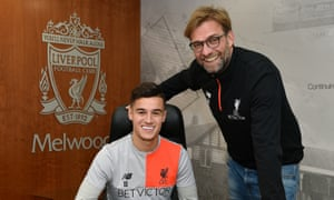 The happy couple: Philippe Coutinho and Jürgen Klopp