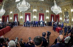 Rome, Italy: The swearing-in ceremony of the new cabinet, a coalition of the anti-establishment Five Star Movement and centre-left Democratic party, at the Quirinale presidential palace