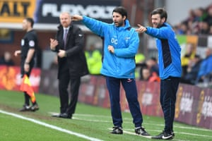 Danny Cowley, left, and his brother Nicky direct their Lincoln players during the remarkable FA Cup fifth-round win at Burnley.