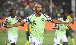 William Troost-Ekong celebrates after scoring Nigeria's late winner in their Africa Cup of Nations quarter-final against South Africa.