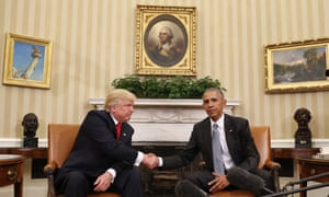 President Barack Obama and president-elect Donald Trump in the Oval Office. The Rockwell painting is on the left.