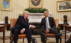 Donald Trump and Barack Obama meet in the Oval Office.