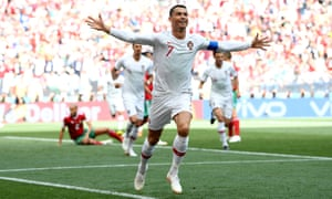 Cristiano Ronaldo celebrates scoring the opener for Portugal.
