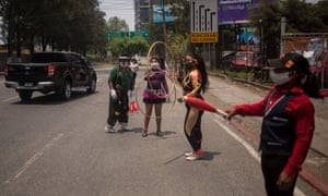 Circus workers protest demanding financial aid in Guatemala City, Guatemala.