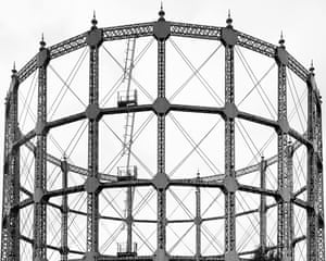 A gas holder tower in Southgate, London by photographer Martin Chivers.