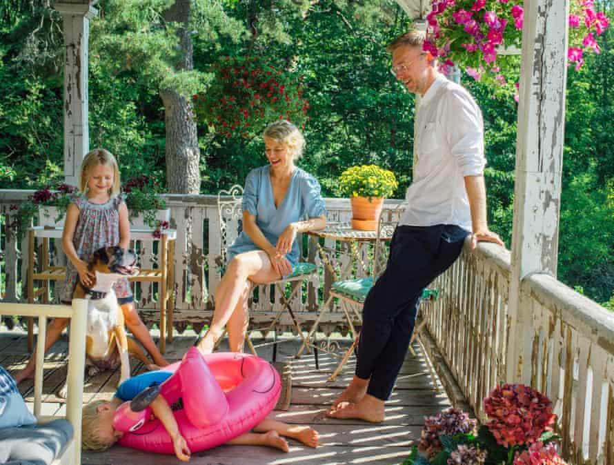 The Puukko family on the veranda.