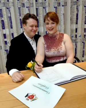 Kieran Hodgson and Adeline Cosson become the first mixed-sex couple to get a civil partnership in the Isle of Man.