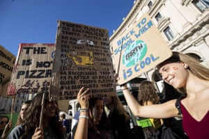 Rome, Italy School students and activists take part in the Global Strike for Climate rally. Millions of people across the world are taking part in demonstrations demanding action on climate issues. The Global Climate Strike Week is held from 20 September to 27 September 2019.