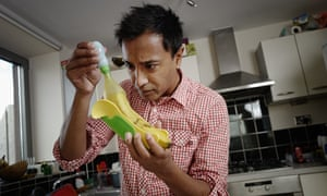 Rhik Sammader grapples with a banana in the Yumstation