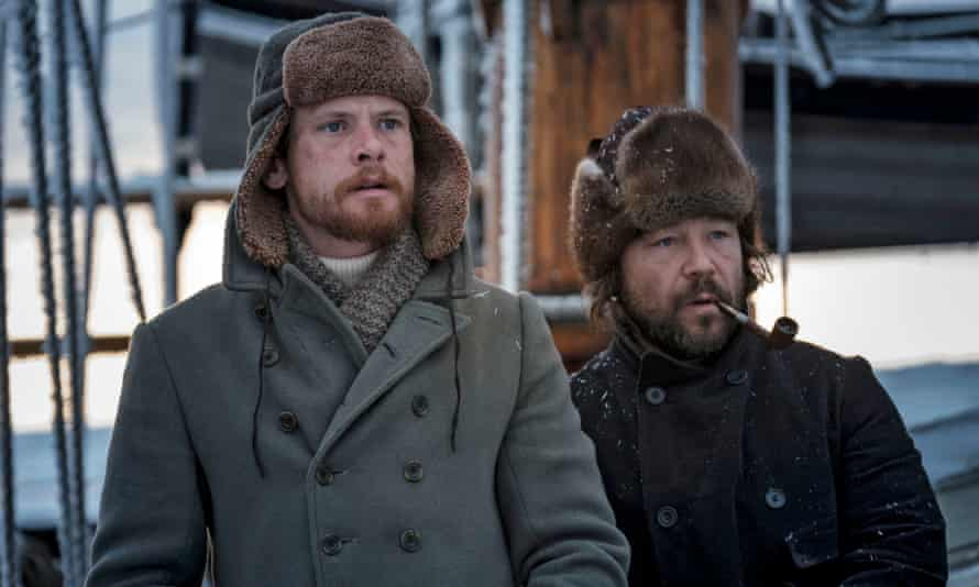 From left to right, Jack O'Connell as Patrick Sumner and Stephen Graham as Captain Brownlee in The North Water.