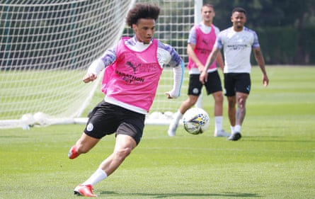 Leroy Sané, pictured in training with Manchester City this week, will sign a five-year deal with Bayern Munich.