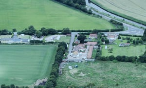 An aerial photo of the Drinsey Nook Traveller site in Lincolnshire