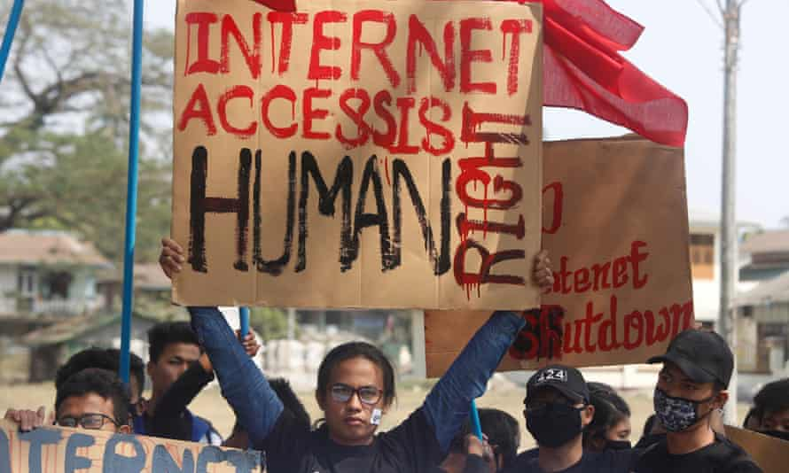 Students protest against the internet ban in Rakhine, Myanmar.