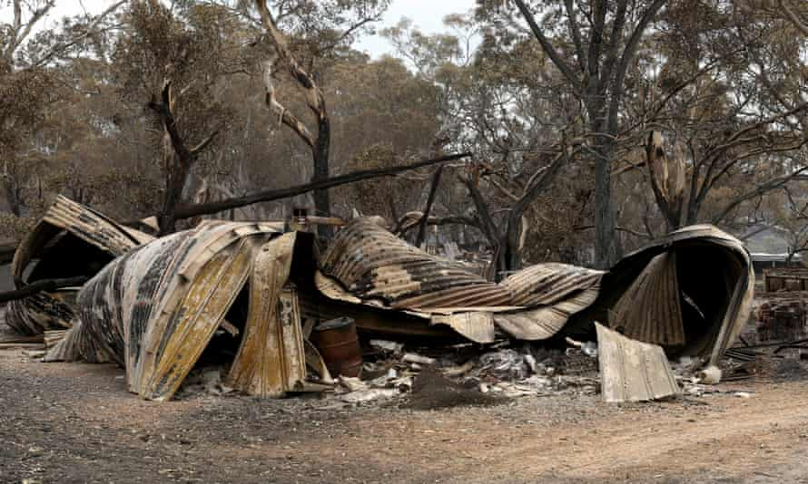 A property destroyed by a bushfire in Woodside in the Adelaide Hills, where the Cudlee Creek fire has destroyed more than 70 homes.