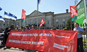 Airport workers protest outside the International Air Transport Association annual general meeting in Dublin.