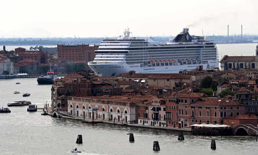 The MSC Orchestra sails across the Venice basin on 5 June
