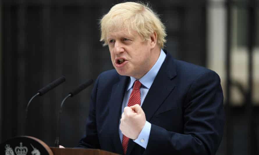 Boris Johnson speaking outside 10 Downing Street as he returned to work on Monday