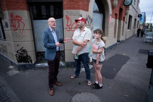 Greens candidate Tim Read campaigns on Sydney Road.