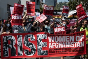 Activists march in Los Angeles about the human rights crisis in Afghanistan. The situation for women in the country is getting worse. Most shelters providing refuge to abused women have closed their doors , meaning women have either been sent home, often back to their abusers, or moved to secret locations