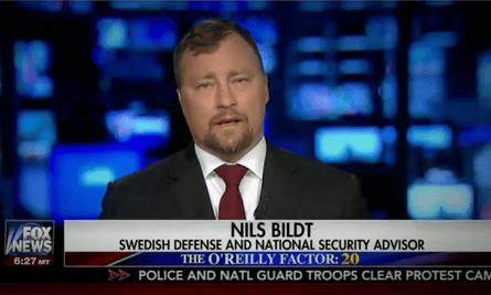 Nils Bildt appears on Fox News on Thursday 23 February billed as 'national security advisor'.