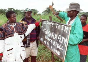 """2000"""" War veterans rename Parklands Farm, 15 miles south-west of the capital Harare, after liberation war hero Josiah Tongogara. February 2000 marked the start of a violent campaign of seizure of white farms by squatters and pro-Mugabe war veterans"""