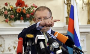 Russian Ambassador Alexander Yakovenko answers questions at his residence in London