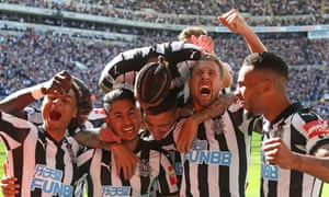 Newcastle players celebrate the third goal scored by Ayoze Perez.