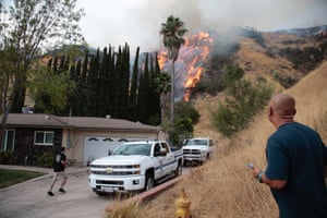 The La Tuna Canyon fire over Burbank, California
