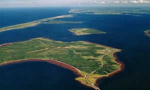 An aerial view of Lennox Island in eastern Canada.