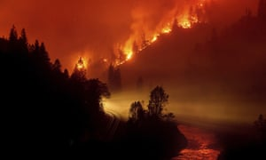 The Delta Fire burns in the Shasta-Trinity national forest, California, on Thursday. The increasing frequency and intensity of wildfires in the state has been linked to climate change.