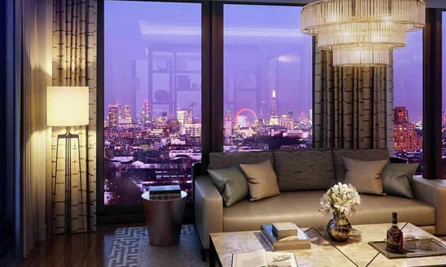 A CGI image of the interior of a Berkeley development in London