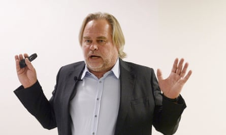 Eugene Kaspersky makes a presentation at a press conference in London, Britain November 28, 2017. REUTERS/Mary Turner