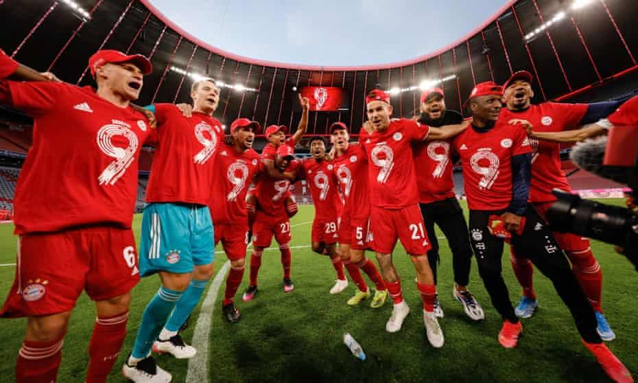 Players celebrate Bayern's ninth Bundesliga title in a row.