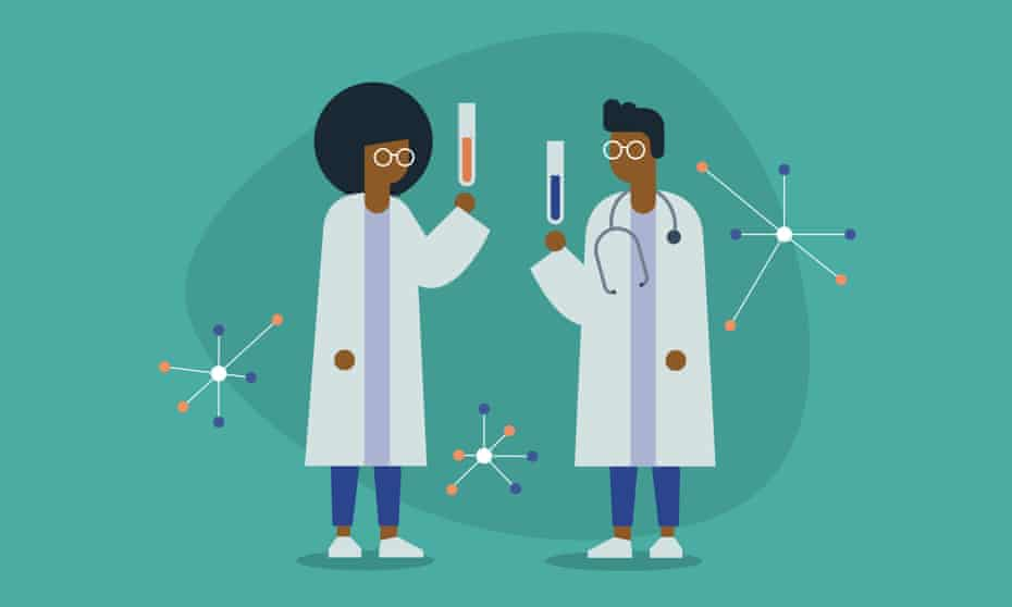 Illustration showing two black scientists