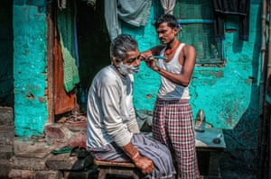 In the Potter's Town area of Kolkata, the brightly coloured turquoise walls were the perfect backdrop to this outdoor shave
