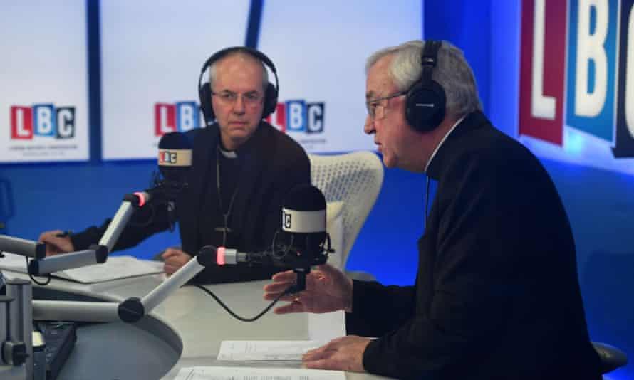 LBC presenter Nick Ferrari (right) speaks to Justin Welby, archbishop of Canterbury.