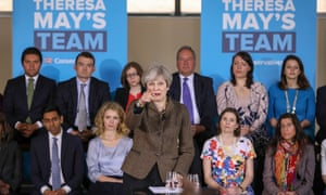 Theresa May speaking at an election event in Harrow.