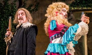 Blasted with antiquity … Griff Rhys Jones as Harpagon and Ryan Gage as Cléante in The Miser.