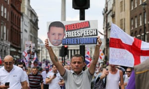 A 'Free Tommy Robinson' protest in London, July 2018.