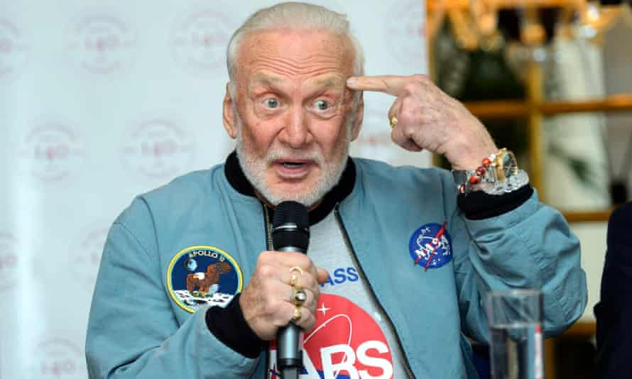 Buzz Aldrin in his NASA jacket - and matching T-shirt.
