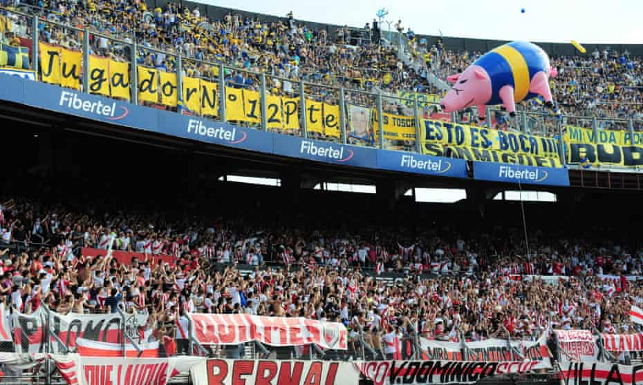 River Plate fans taunt their Boca counterparts with an inflatable pig in 2012.