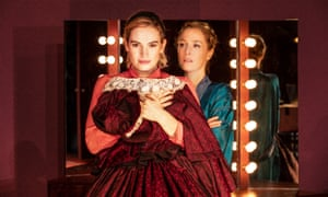 Lily James as Eve and Gillian Anderson as Margo in All About Eve at the Noël Coward Theatre