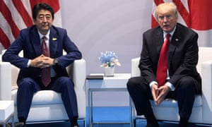 US President Donald Trump and Japanese Prime Minister Shinzo Abe hold a meeting on the sidelines of the G20 Summit in Hamburg, Germany, July 8, 2017. / AFP PHOTO / SAUL LOEBSAUL LOEB/AFP/Getty Images