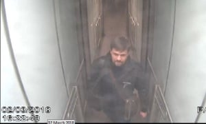 Suspect Ruslan Boshirov is shown on CCTV at Gatwick airport at 1500 hrs on 2 March 2018.