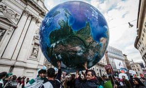 Demonstrators in Rome, Italy, participating in the Global Climate March on November 29, 2015.