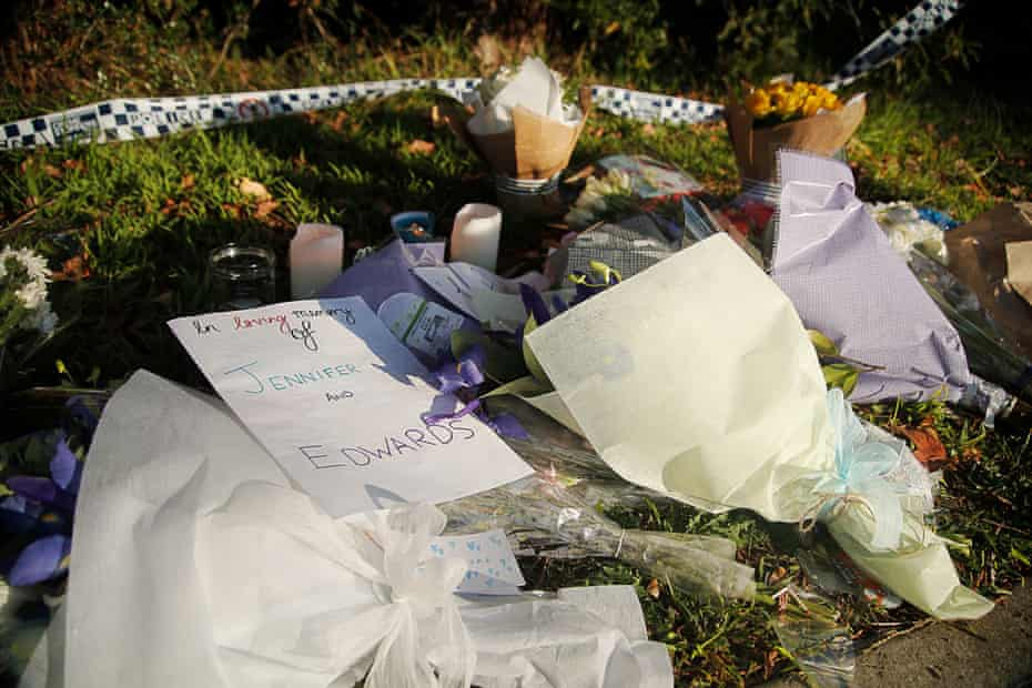 Flowers and tributes at a property in West Pennant Hills, Sydney, after John Edwards killed his 15-year-old son and 13-year-old daughter.