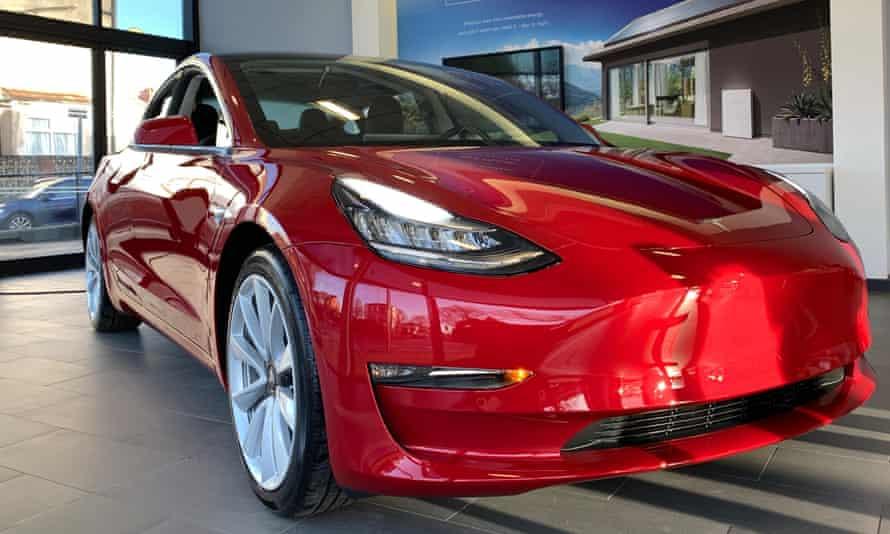 Tesla Model 3 car in a showroom